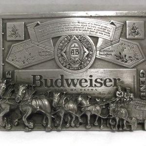 Vintage Belt Buckle ~BUDWEISER & CLYDESDALES~ NICE